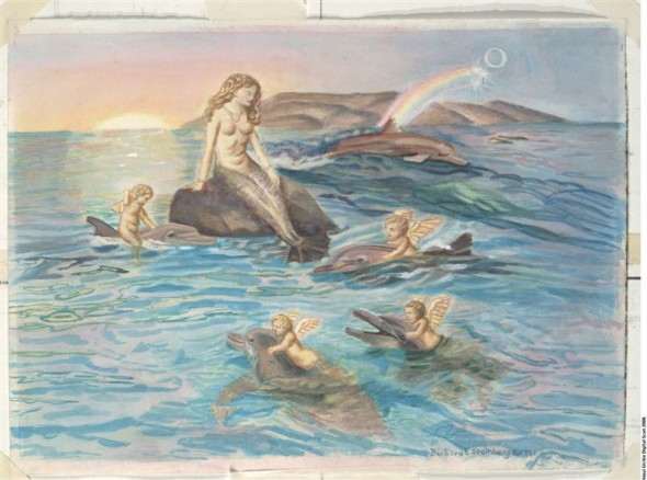 Mermaid and Dolphin giclee fine art reproduction